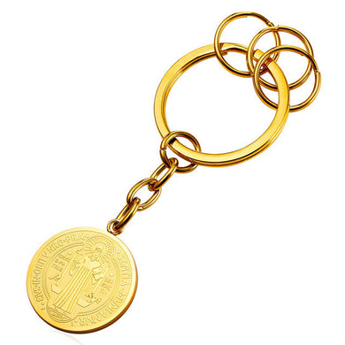 Saint Benedict Medal Round Keychain in Gold or Silver