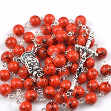 Red Marbled Glass Bead Rosary