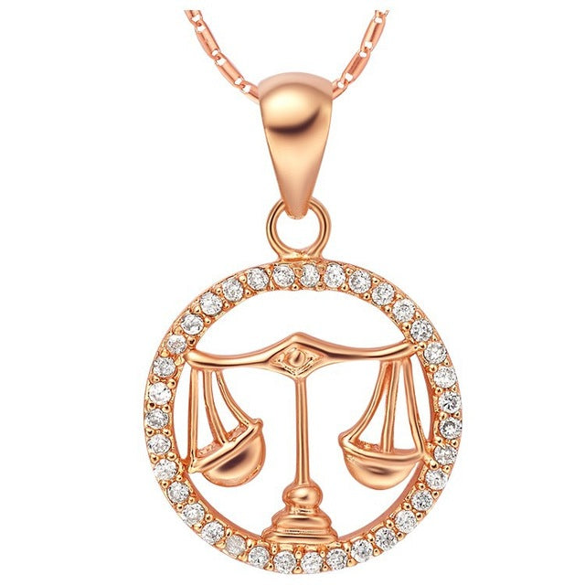 Rose Gold Libra Necklace