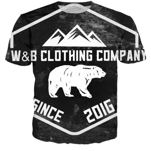 W&B Clothing Company Bear And Mountains All Over Print Shirt
