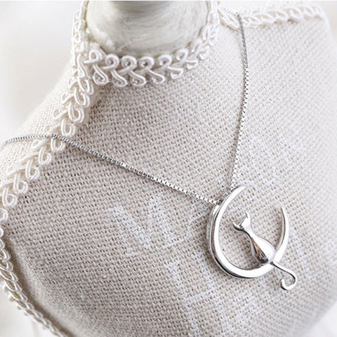 Cat & Crescent Moon Pendant Necklace