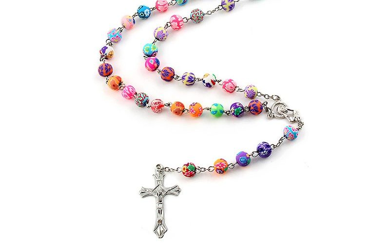 Colorful Round Clay Bead Catholic Rosary