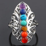 7 Chakra Adjustable Silver Tone Women's Ring