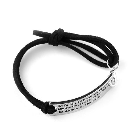 Women's Adjustable Motivational Quote Bracelet Life Isn't About Weathering the Storm