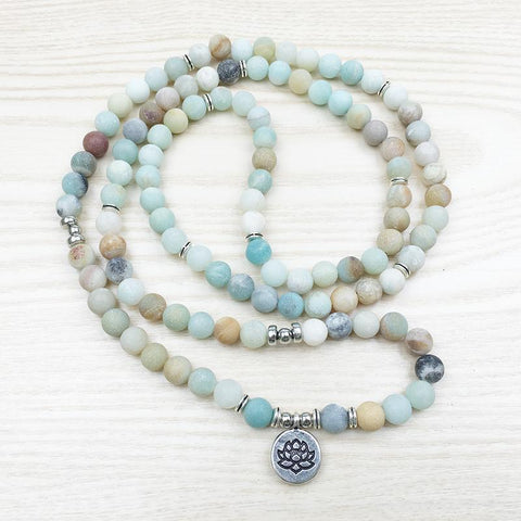 108 Amazonite Bead Mala Meditaion Lotus Flower Bracelet
