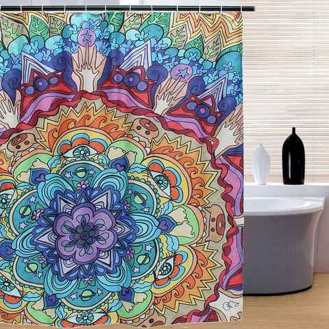 Colorful Bohemian Mandala Fabric Shower Curtain