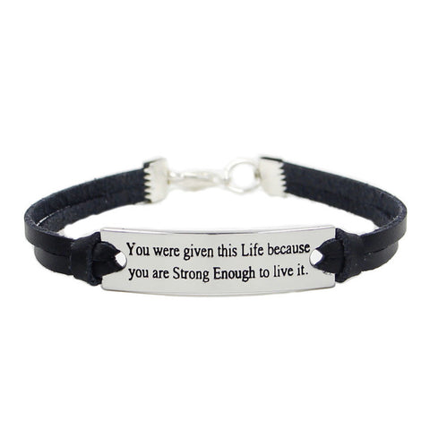 You are Strong Enough Inspirational Quote Women's Bracelet
