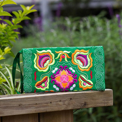 Women's Bohemian Embroidered Wallet Clutch