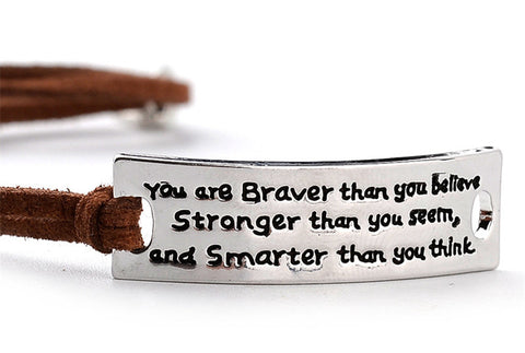 Women's Silver Motivational Quote Bracelet with Adjustable Leather Band