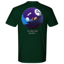 """FOUR BALL STORY"" artwork by Max Eberle on the back, men's tshirt"