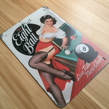 8-Ball Pinup Tin Plate Art - cuemax