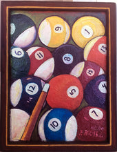 """Pool Balls with Cue"" Original Oil Painting by Mexican Artist Filipe Ruelas"