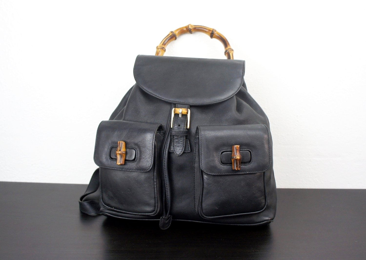 7f2999b0eee ... Vintage Black Leather Gucci Backpack with Double Front Pockets and  Bamboo Top Handle ...