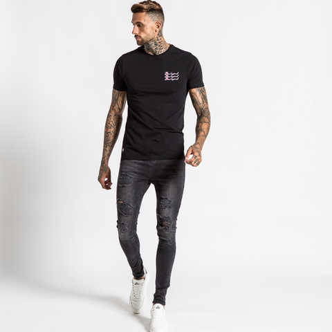 Bee Inspired Triple Scribble Tee - Black