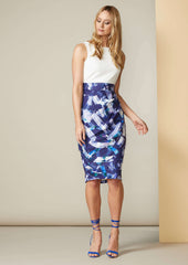 Closet 2-in-1 Violet Abstract Pleated Pencil Dress