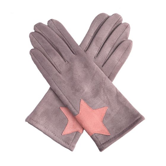 Star Cuffed Gloves Grey