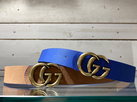 Reversible GG Belt Blue/Tan
