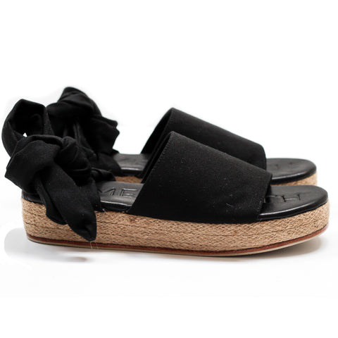 """THE WRAP ESPADRILLE"" - BLACK DENIM"