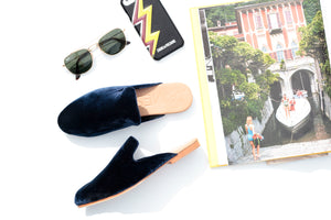 """STREET SLIPPER"" - NAVY VELVET"