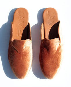 """STREET SLIPPER""- TAN VELVET"