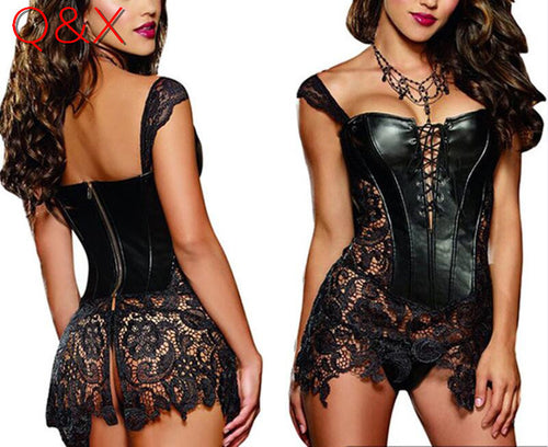 Women's Black Faux Leather and Lace Burlesque Steampunk Corset S-6XL