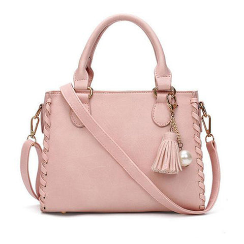Matte Leather  Shoulder Handbag in Pink