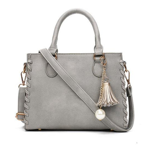 Matte Leather  Shoulder Handbag in Gray