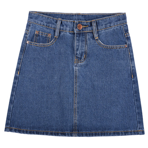 Denim Zipper Short Skirt
