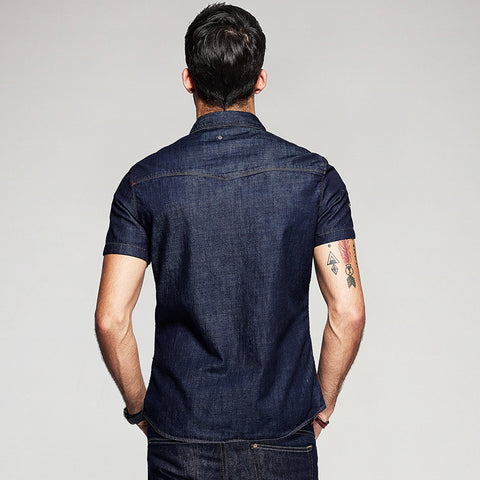 Men's Denim Short Sleeve Slim Fit Shirt