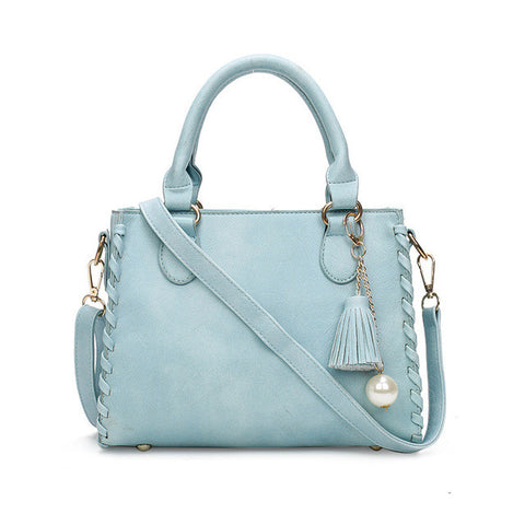 Matte Leather  Shoulder Handbag in Sky Blue