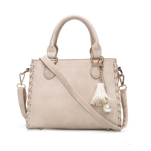 Matte Leather  Shoulder Handbag in Beige