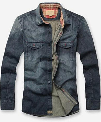 Men's  Denim  Long Sleeve Casual Jeans Shirt
