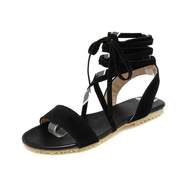 Nubuck Cross tied Gladiator Sandals Lace up Flat Sole Shoes