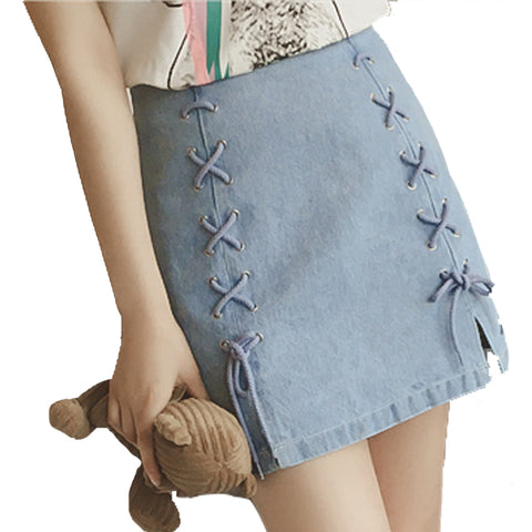 Double Lace Up Splits Denim Skirt