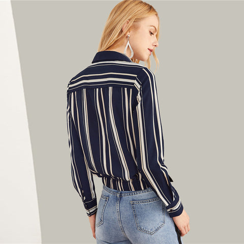 Twist Front Striped Shirt
