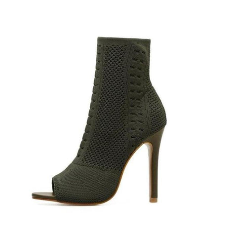Open Toe High Heel Sock Boots