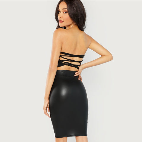Knee Length Mid Waist Skirt