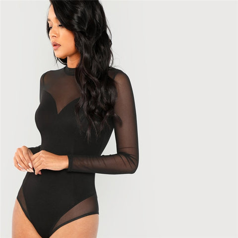 Mesh Panel Long Sleeve Skinny Bodysuit