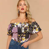 Off Shoulder Floral Blouse