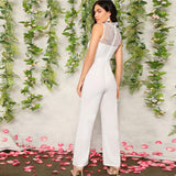 White Lace Straight Leg Jumpsuit