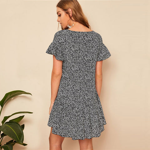 Floral Short Sleeve Loose Mini Dress