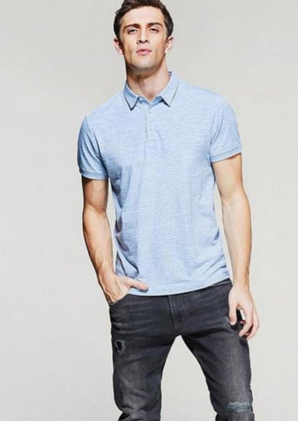 Mens Polo Shirts in Cotton Blue