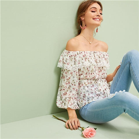 Ditsy Floral Off Shoulder Blouse