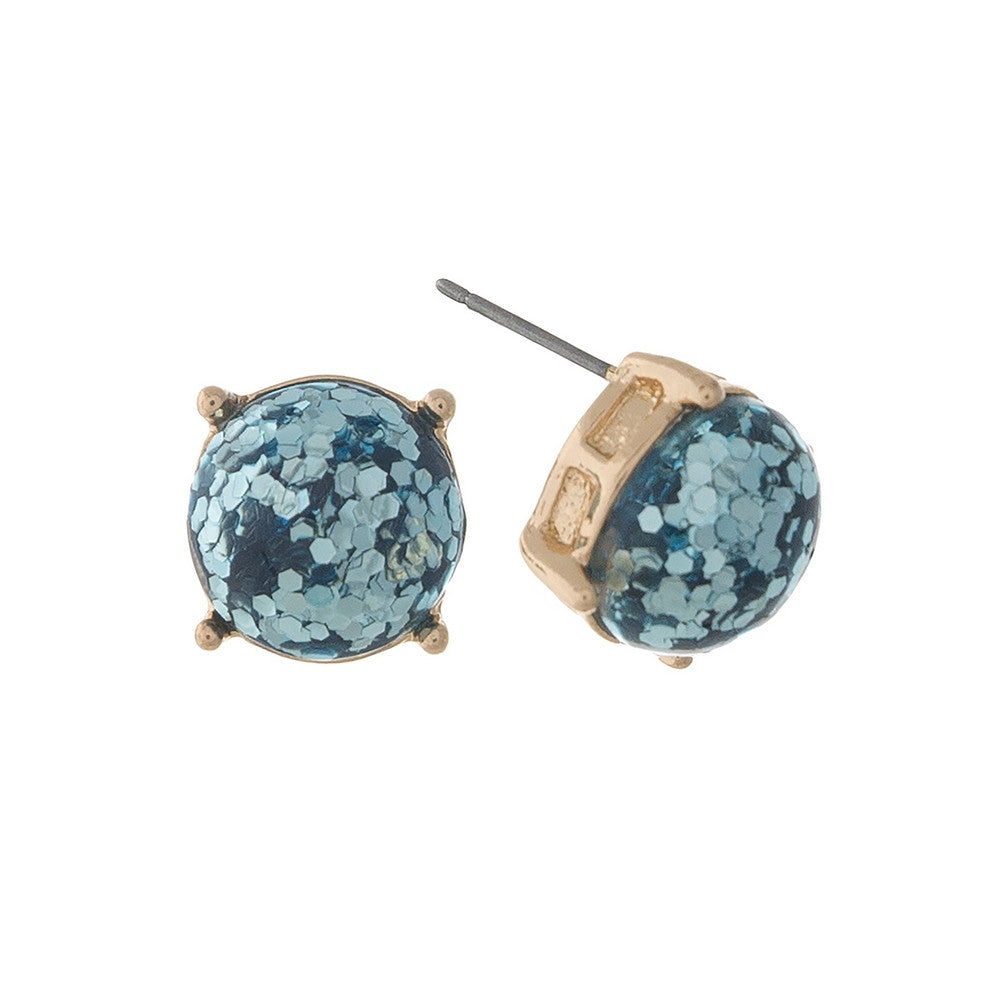Luminous Glitz Stud Earrings, Turquoise - L'Amour Chic Boutique