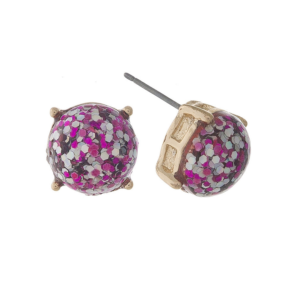 Luminous Glitz Stud Earrings, Fuchsia - L'Amour Chic Boutique