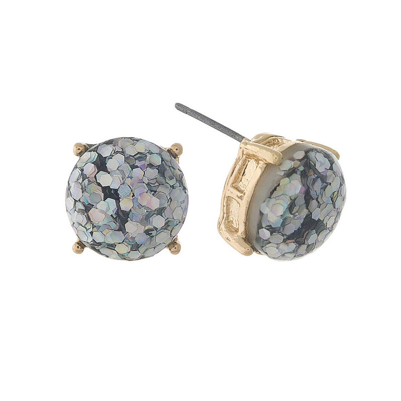 Luminous Glitz Stud Earrings, Iridescent - L'Amour Chic Boutique