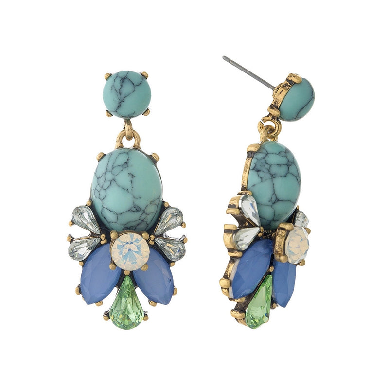 Make A Statement Earrings, Turquoise Marble - L'Amour Chic Boutique