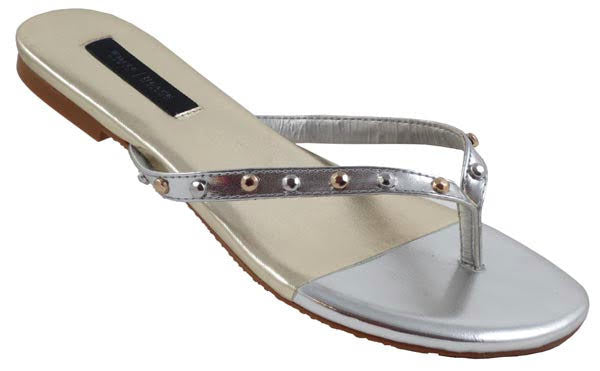Simple Classic Thong Sandals, Metallic - L'Amour Chic Boutique