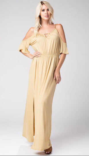 Give Him The Cold Shoulder Maxi Dress, Mustard - L'Amour Chic Boutique