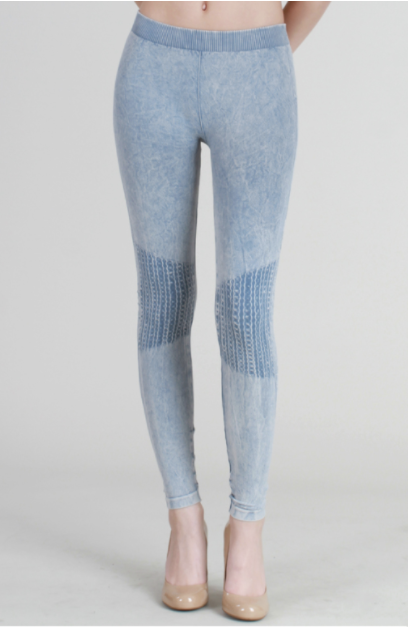 Waffle Knee Ice Blue Leggings - L'Amour Chic Boutique